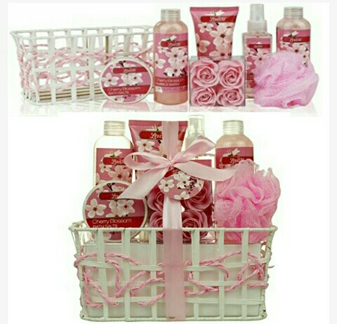 Women's Spa Gift Basket: Lovestee Cherry Blossom Beauty Hamper Gifts for Christmas, Birthdays, Anniversaries, Special Days, Events..