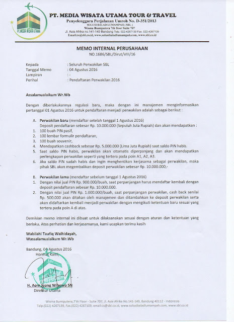 Aturan Terbaru Pendaftaran Kantor Perwakilan Sahabat SBL 2016