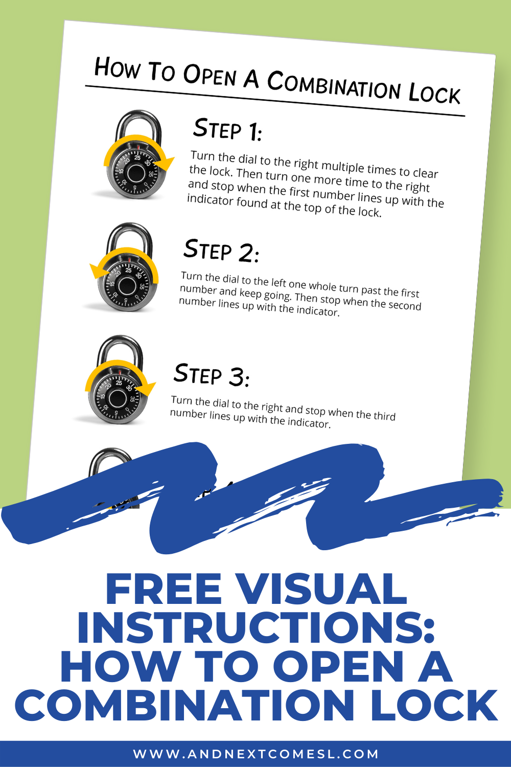 Teach kids and teens how to open a combination lock with these free printable visual instructions. They're a great way to help students learn how to use a combination lock!