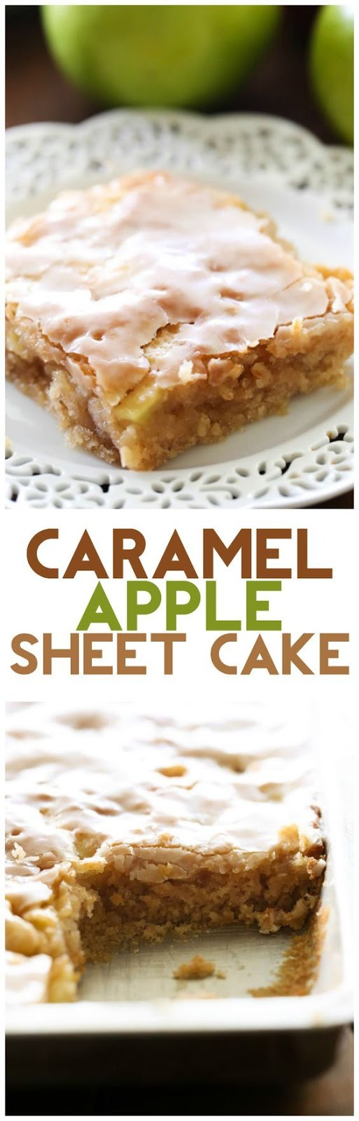 Caramel Apple Sheet Cake… this delicious apple cake is perfectly moist and has caramel frosting infused in each and every bite! It is heavenly!