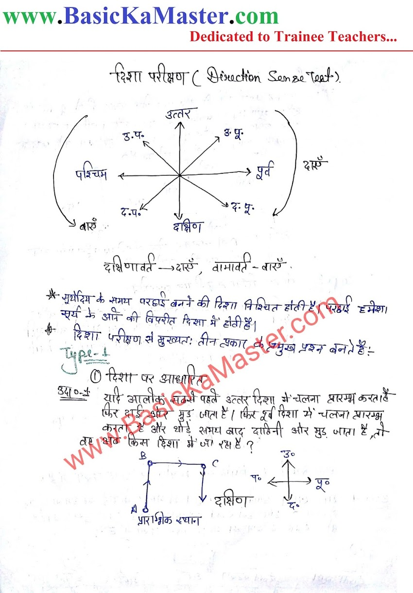 तार्किक ज्ञान Notes - 3 (Direction)