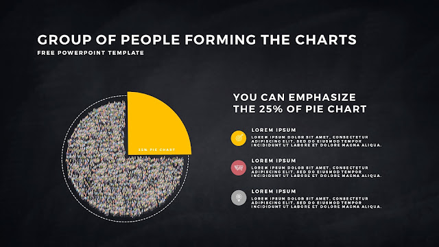 Free PowerPoint Template with Group of People Forming The Pie Chart for Emphasize 25 % Business Area with Dark Backgrounbd