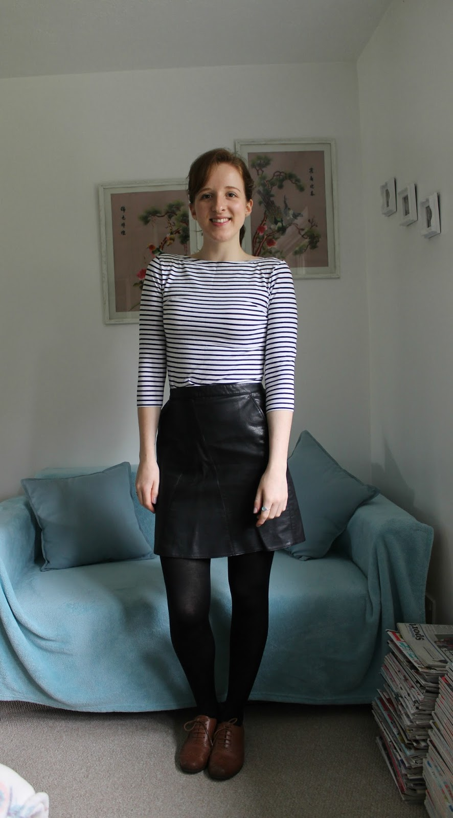 Everything But The Kitchen Sink: OOTD: Classic Stripes and Leather ...