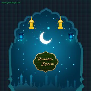 Ramadan Kareem islamic arch hanging lanterns mosque