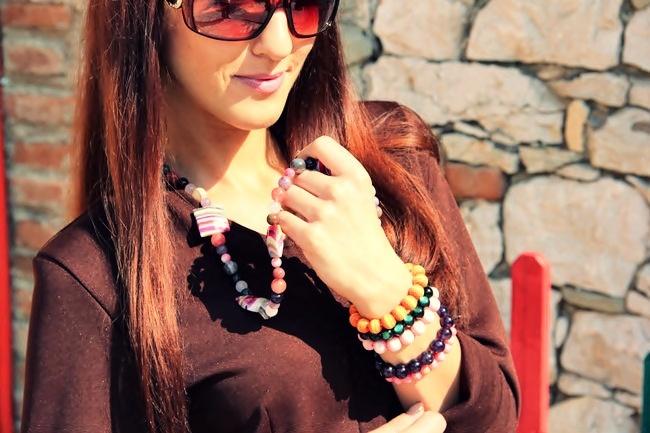 multicolored handmade stone bracelets