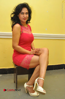 Telugu Actress Vijaya Murthy Stills in Red Short Dress at Www.Meena Bazaar Movie Opening  0084.JPG