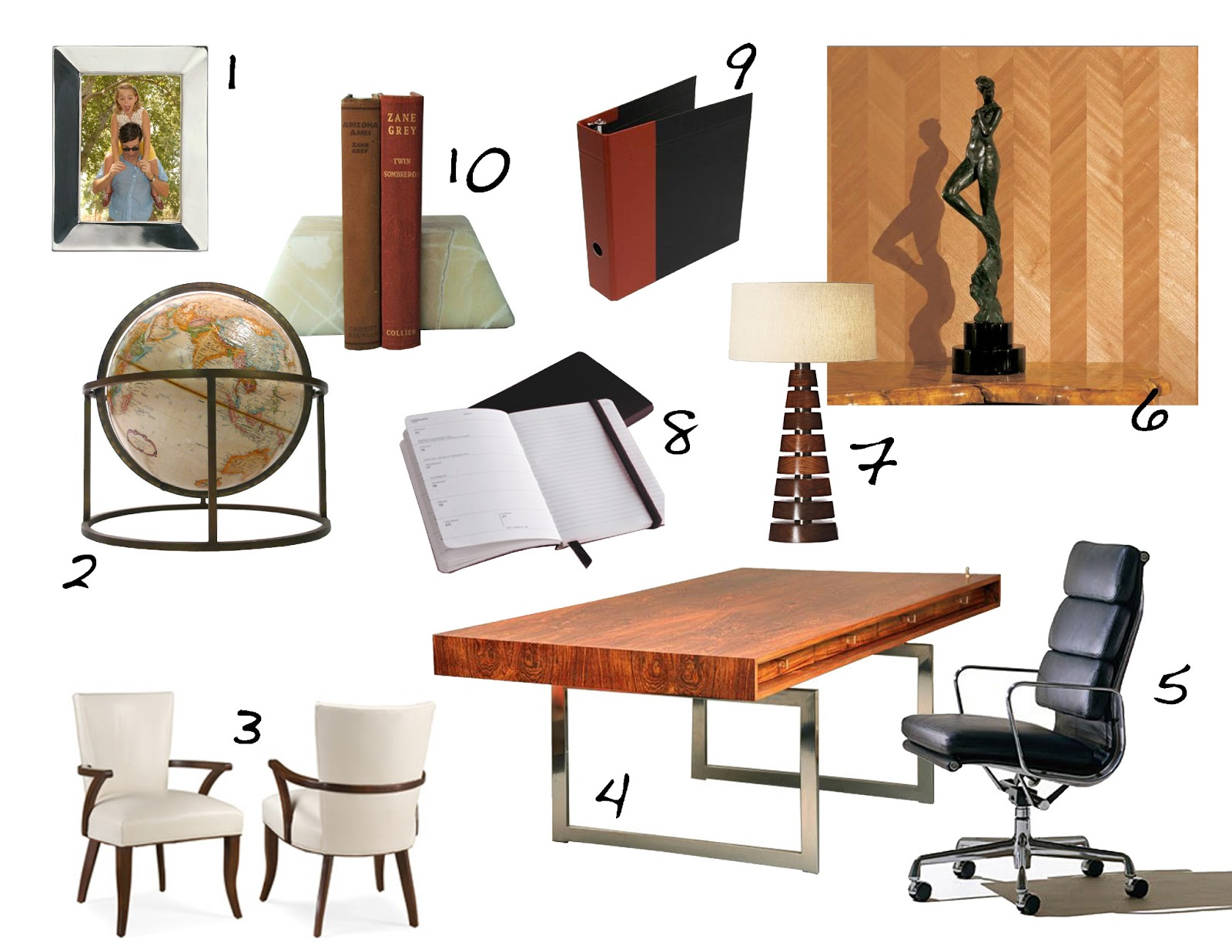 This inspiration board offers great ideas for a 60s inspired office space.