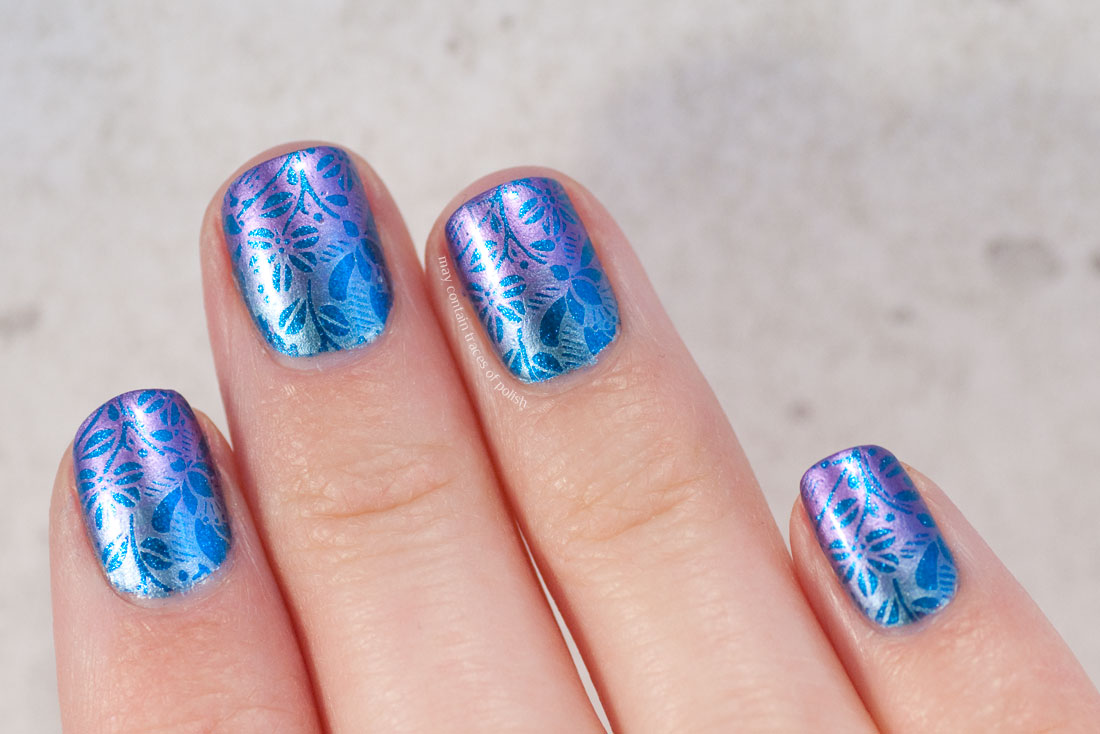 Metallic gradient nail art with floral pattern, stamped MoYou Flower 07