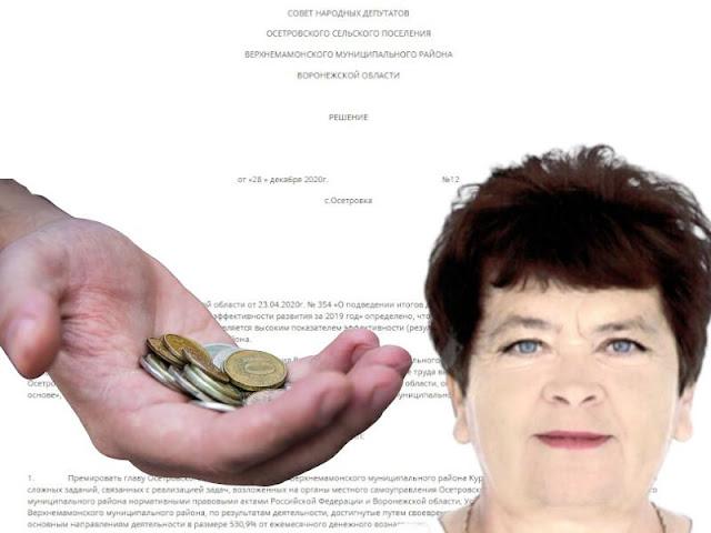 Премию в 530% выписала себе воронежская чиновница в качестве новогоднего подарка