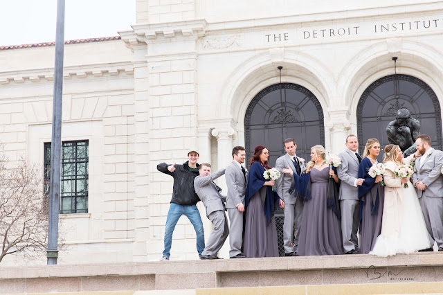 out take photo of bridal party at Detroit Institute of Arts