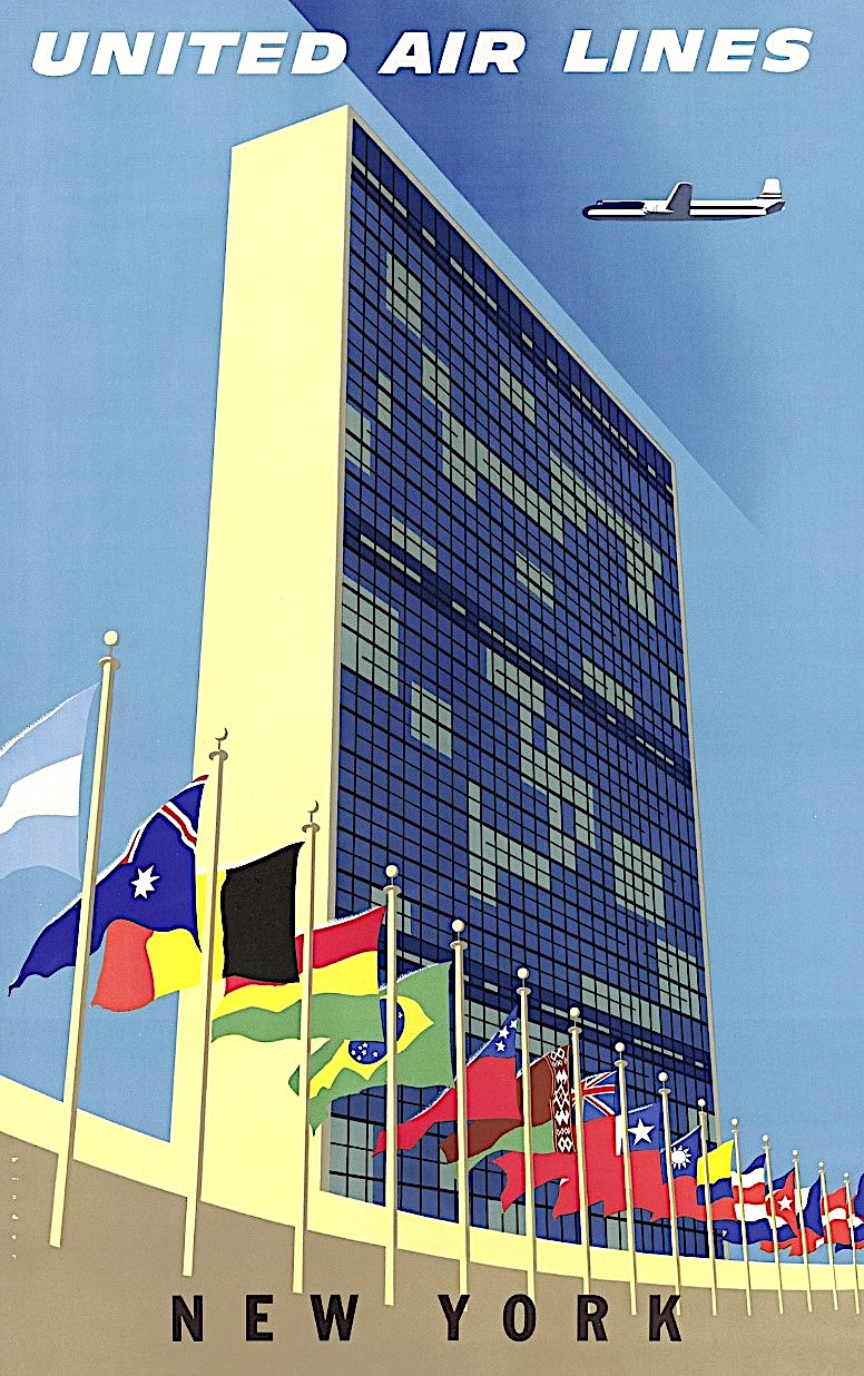 a Joseph Binder 1957 poster for New York tourism showing the United Nations building