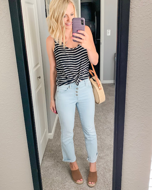 Black and white striped tank top with cropped flare jeans and espadrilles wedges
