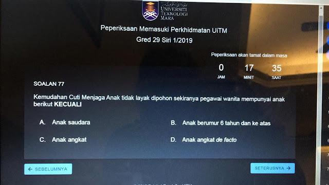 Himpunan Soalan Peperiksaan Memasuki Perkhidmatan UITM Secara Dalam Talian Gred 29