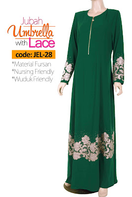 Jubah Umbrella Lace JEL-28 Green Depan 2