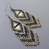 купить сережки из бисера этнические серьги длинные с бахромой