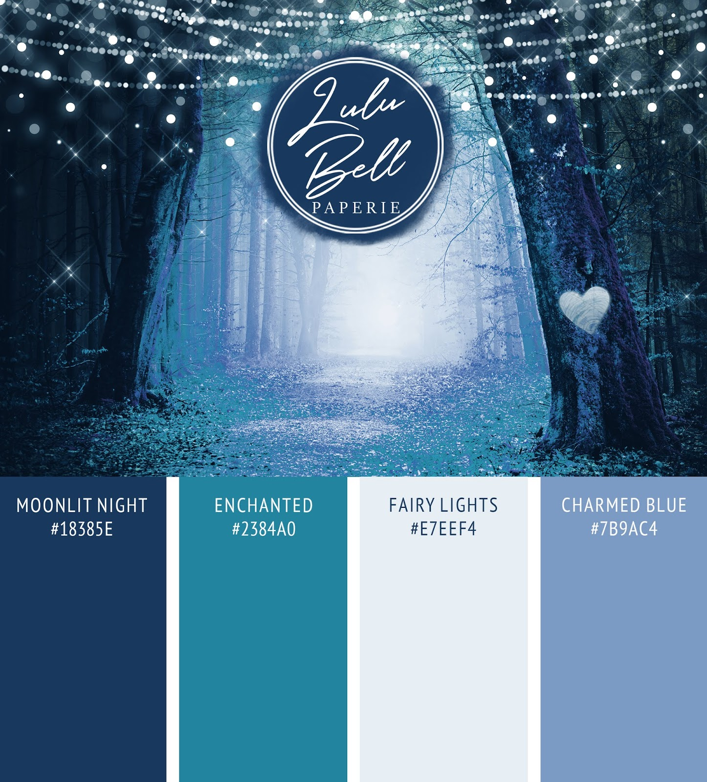 Enchanted Forest Wedding Color Palette Card with Hex Color Codes | Fairy Wings Blue, Charmed Dusty Blue, Moonlit Night Navy, and Enchanted Teal