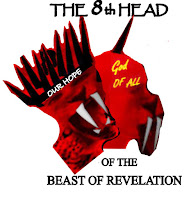 """a graphic of The 8th Head of the Beast of Revelation (c) Erika Grey which features two heads, with one head towards the right and tilted with ten horns and the mouth of a lion. Above both heads it reads """"The 8th Head"""" in capital letters. The head to the right has a single horn in the center of the top of its head and also has the mouth of a lion. Both heads are scarlet in color. Below the head to the right it reads """"of the Beast of Revelation"""""""