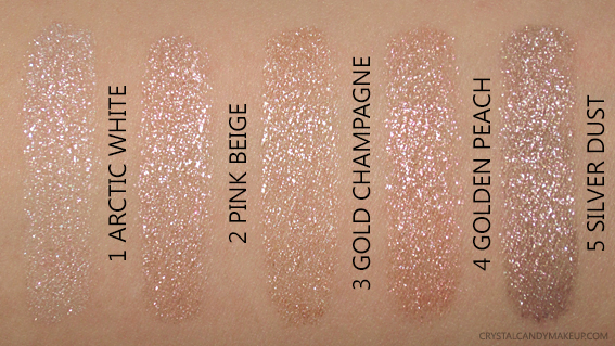 Make Up For Ever Star Lit Liquids Swatches 4 Golden Peach 5 Silver Dust