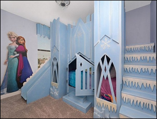 frozen castle bed elsa winter castle bed  Frozen theme Elsa bedroom - Elsa theme bedroom ideas - princess Disney Frozen - Winter theme decorations -  Frozen room decorating ideas - Disney Frozen themed decor - Queen Elsa Frozen theme bedroom decor  - Disney Frozen bedroom decorating ideas - snow queen bedroom ideas