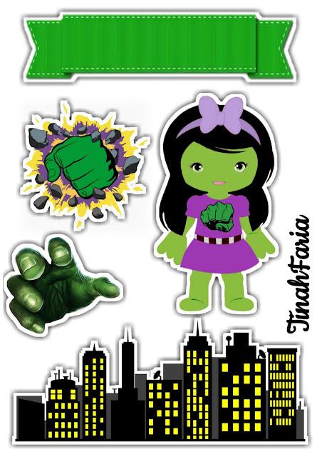 Hulk Chica: Toppers para Tartas, Tortas, Pasteles, Bizcochos o Cakes para Imprimir Gratis.