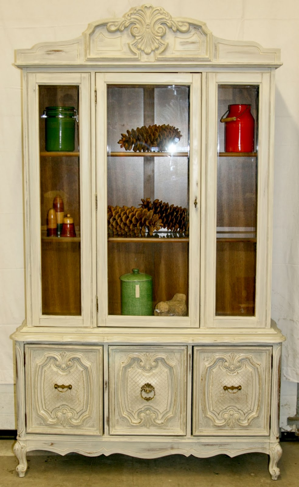 Laurels Attic  Warm White China Cabinet  SOLD