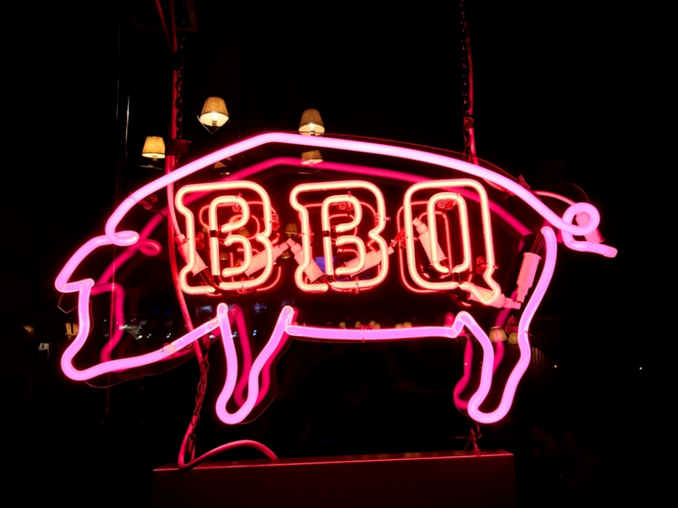 BBQ sign with lights