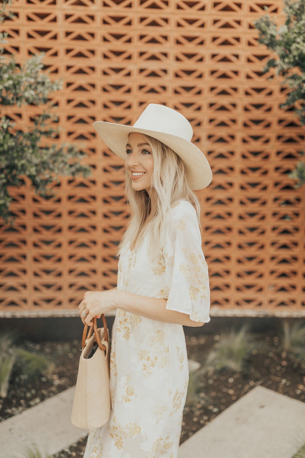 maxi dress + a wide brim hat