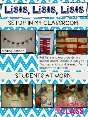 Writing center activities for Kindergarten- writing lists to give students confidence in their writing