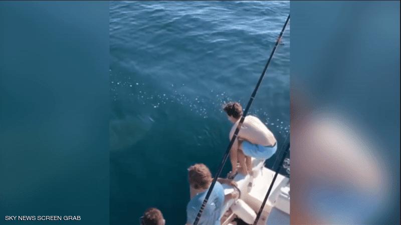 جنون أم شجاعة؟.. فيديو لشابين يقفزان فوق سمكة قرش
