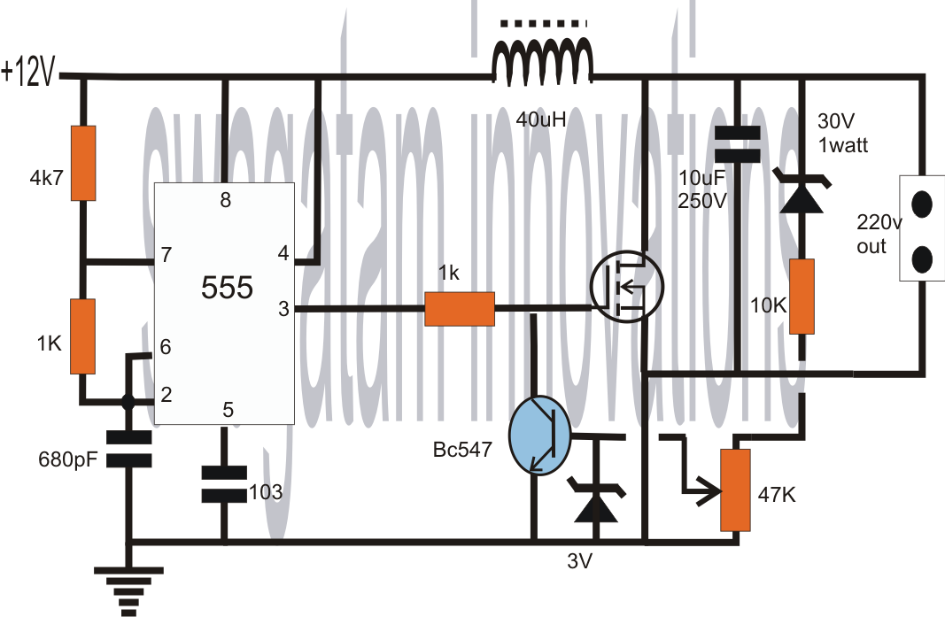 11 led knight rider project circuit diagram