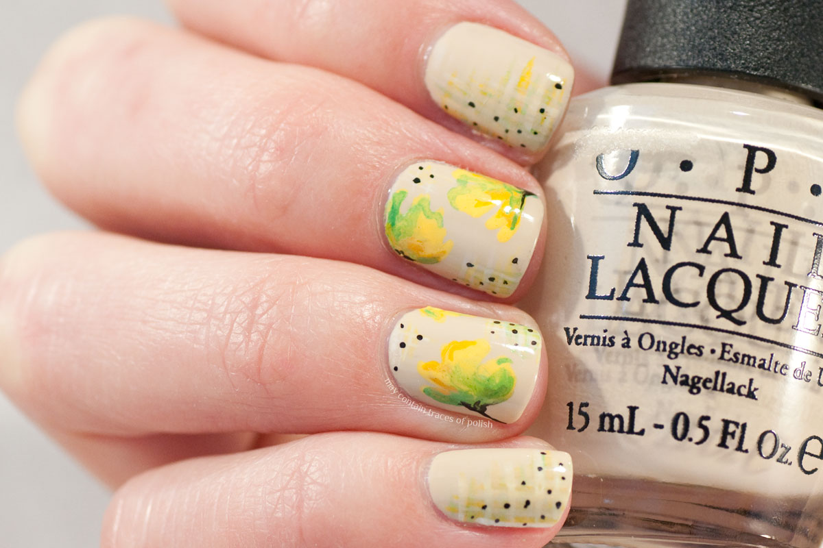 Abstract Water Colour Floral Nails on OPI You're So Vain-illa