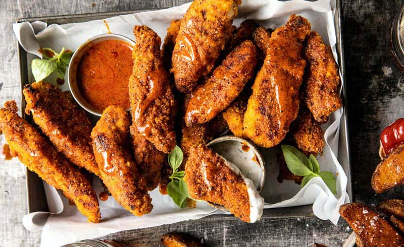 Black Pepper Rub Chicken Fingers with Greek Yogurt Ranch