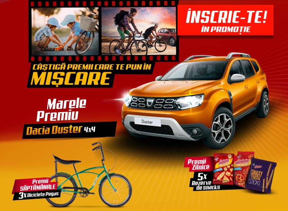 Concurs Salatini 2021 - Castiga premii care te pun in miscare - 1 masina Dacia Duster 4x4, 27 biciclete Pegas sau baxuri produse Salatini - promotie - castiga.net