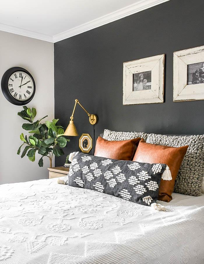 High contrast modern farmhouse neutral bedroom decor