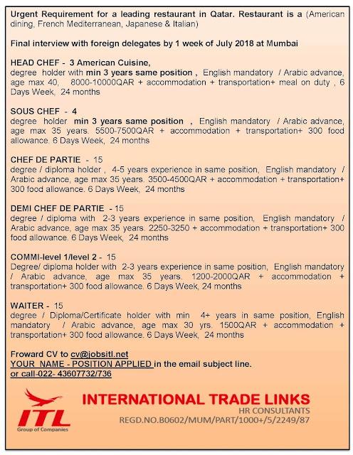 Restaurant Jobs, Qatar Jobs, Head Chef, Sous Chef, Chef De Partie, ITL Jobs,