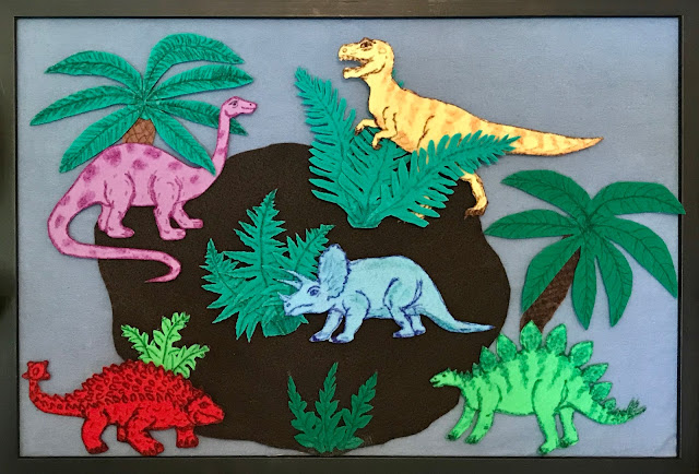 Dinosaur felt set for flannel board, dinosaur flannel board