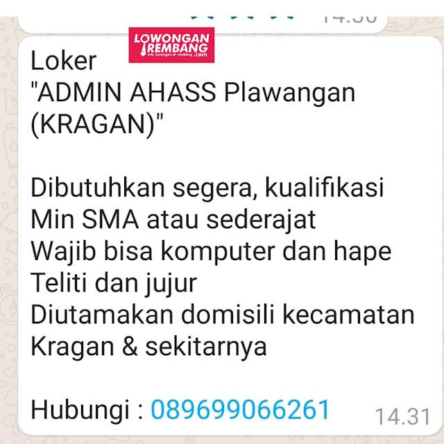 Lowongan Kerja Admin Bengkel Resmi Honda (AHASS) Plawangan Kragan Rembang