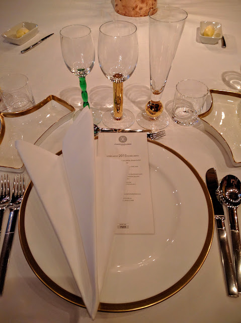 Nobel Dinner place setting at Stadshuskällaren Restaurang at the Stockholm City Hall