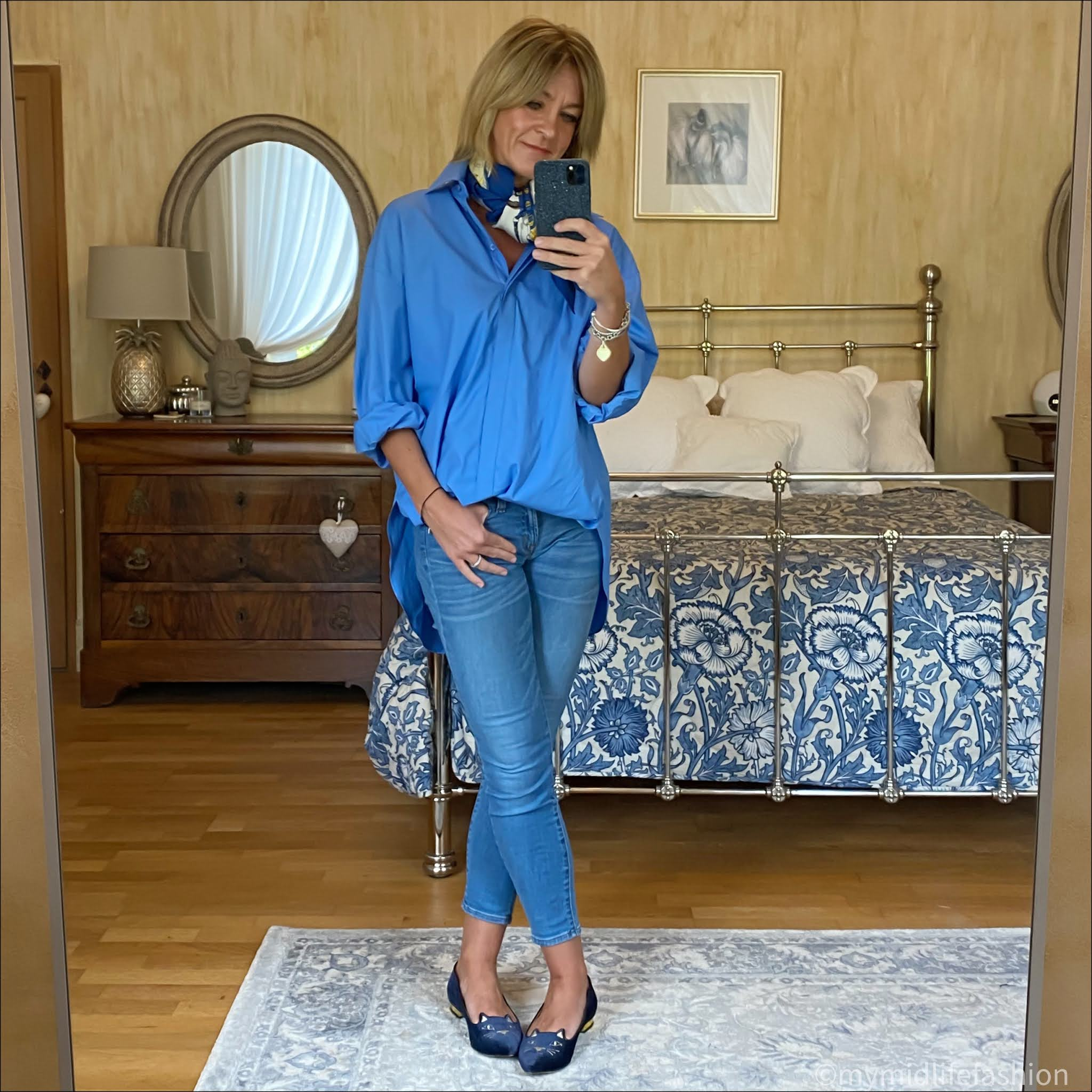 my midlife fashion, zara poplin shirt, Hermes silk scarf, j crew 8 inch toothpick jeans, Charlotte Olympia kitty face velvet flats