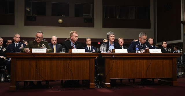 Secretary of the Air Force Heather Wilson (second from right) testifies on the proposal to establish a United States Space Force during a Senate Armed Services Committee hearing in Washington, D.C., April 11, 2019. (U.S. Air Force photo by Adrian Cadiz)