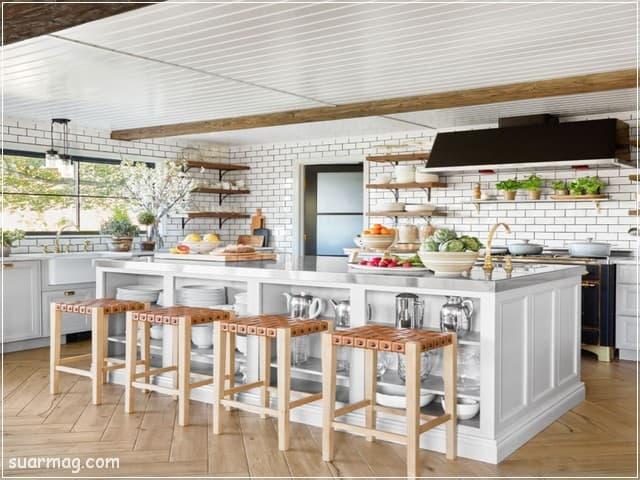 اشكال مطابخ خشب 7   wood kitchens shapes 7