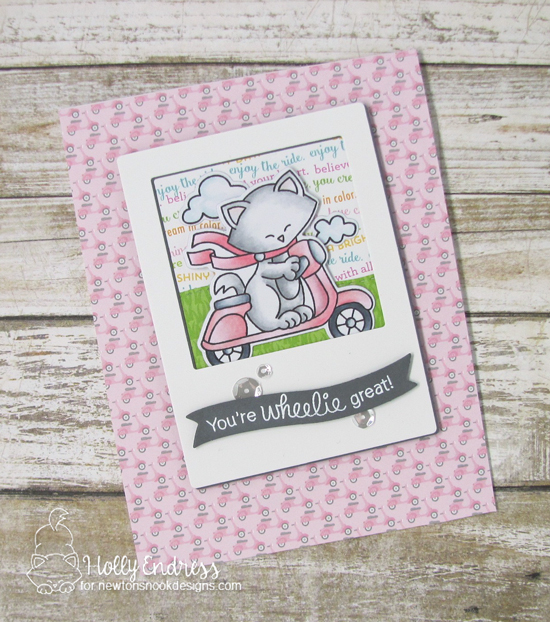 You're Wheelie Great - Cat on Scooter card by Holly Endress | Newton Scoots By Stamp Set by Newton's Nook Designs #newtonsnook