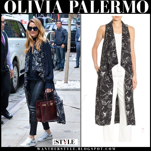 Olivia Palermo in black floral print sleeveless chelsea28 vest, black leather pants and white moncler gamme rouge sneakers what she wore streetstyle