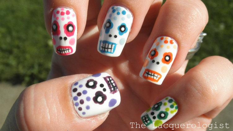 Simple Sugar Skulls Nail Art Tutorial Casual Contrast