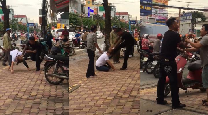 Thanh niên xăm trổ cao to đánh bạn gái không trượt phát nào còn hổ báo với người can ngay giữa đường