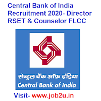Central Bank of India Recruitment 2020, Director RSET & Counselor FLCC