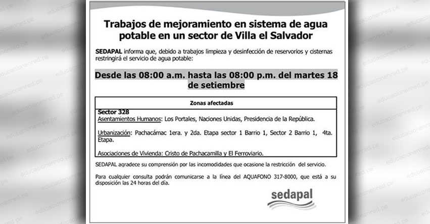 SEDAPAL: Corte de Agua Potable en Villa el Salvador (Martes 18 Septiembre) www.sedapal.com.pe
