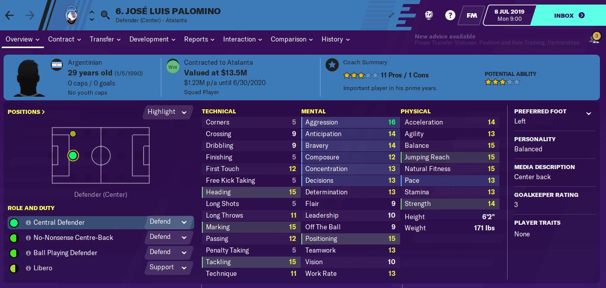 Jose Luis Palomino Football Manager 2020