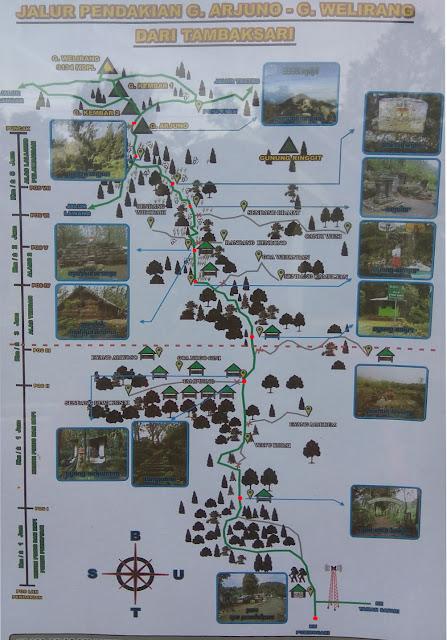 Peta Pendakian Gunung Arjuno via Purwosari