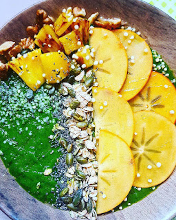 green smoothie bowl detox épinards ananas  psyllium banane